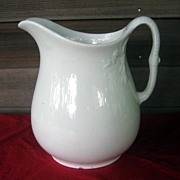 Antique White Ironstone Pitcher Chain Of Tulips Shape