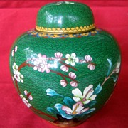 Antique Cloisonne Ginger Jar Green With Cherry Blossoms