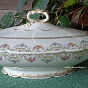 Antique J Pouyat Footed Tureen Floral Gold Filigree