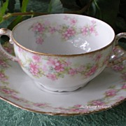 Antique Elite Limoges Soup Cup & Saucer Pink Floral Garland