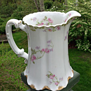 Antique Haviland Limoges Large Pitcher Schleiger 87 Roses And Violets