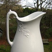 19th Century White Ironstone Ewer / Pitcher Ribboned Oak Shape