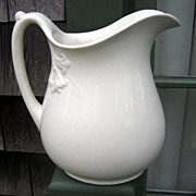 White Ironstone Pitcher Trumpet Lily Shape