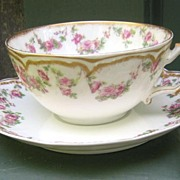 Antique Haviland Limoges Cup & Saucer Schleiger 270 Rose Garlands