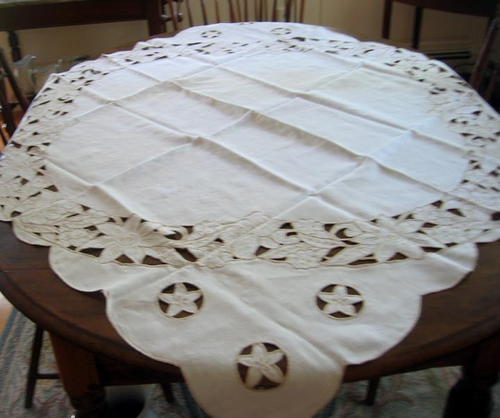 Vintage Irish Linen Tablecloth Cut Work Design