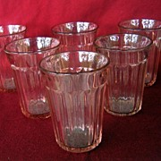 Depression Glass Tumblers Pink Fortune Set Of 5