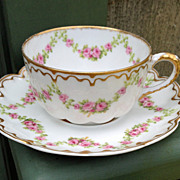 SOLD Antique Haviland Limoges Cup & Saucer Schleiger 875 Roses