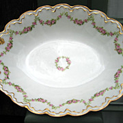 SOLD Antique Haviland Limoges Oval Bowl Schleiger 875 Roses