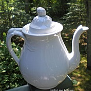 Antique English White Ironstone Tea Pot Embossed Leaf Split Handle