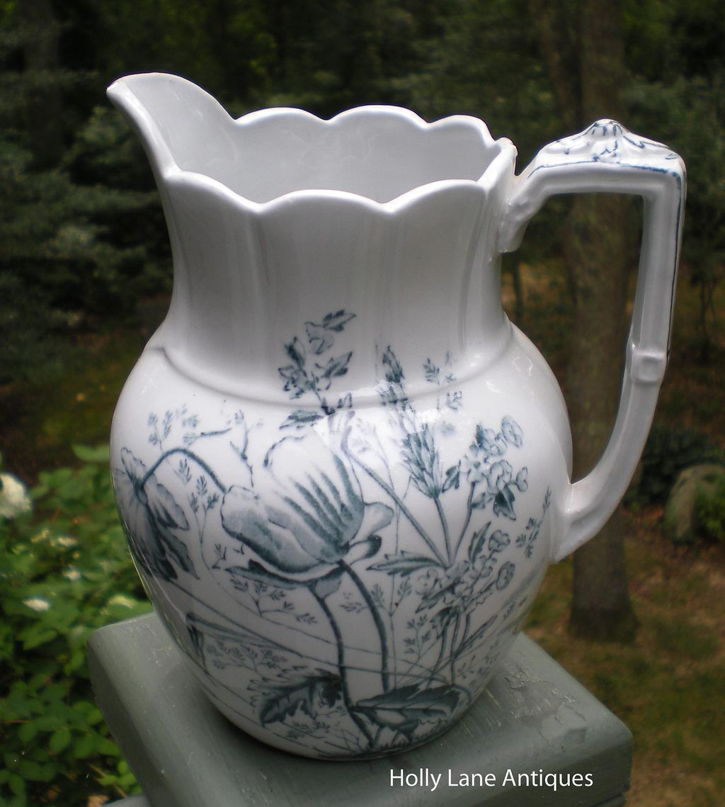 Antique Blue Transfer Ware Pitcher Poppy Pattern