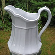 Early English White Ironstone Pitcher Bootes 1851 Octagon Shape