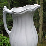 Early English White Ironstone Ewer / Pitcher Grand Loop Shape