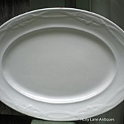 Early English White Ironstone Platter Leaf And Crossed Ribbon Shape