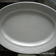 SOLD Early English White Ironstone Large Platter Fuchsia Shape