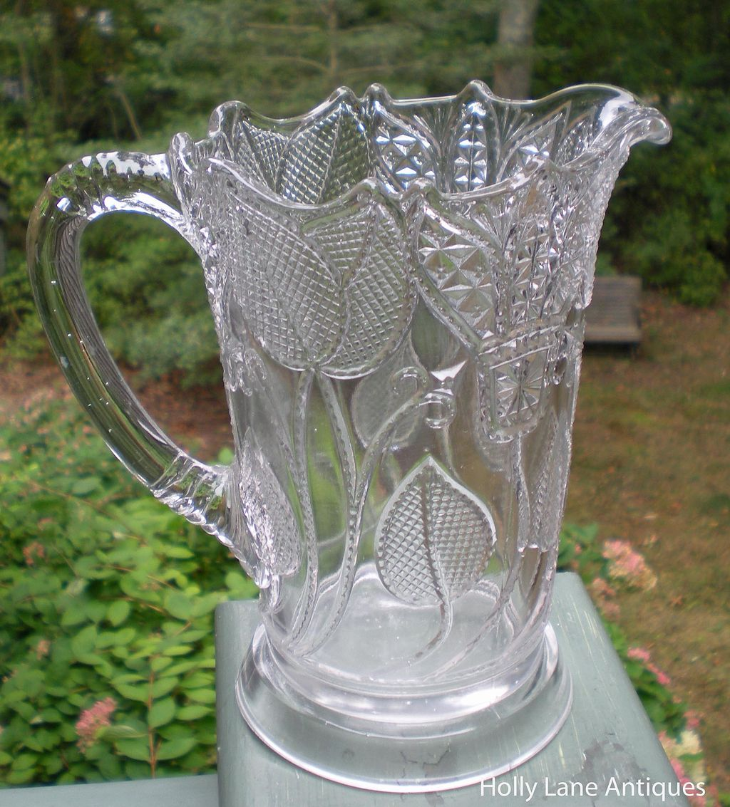 Early American Pressed Glass Pitcher Beaded Tulip