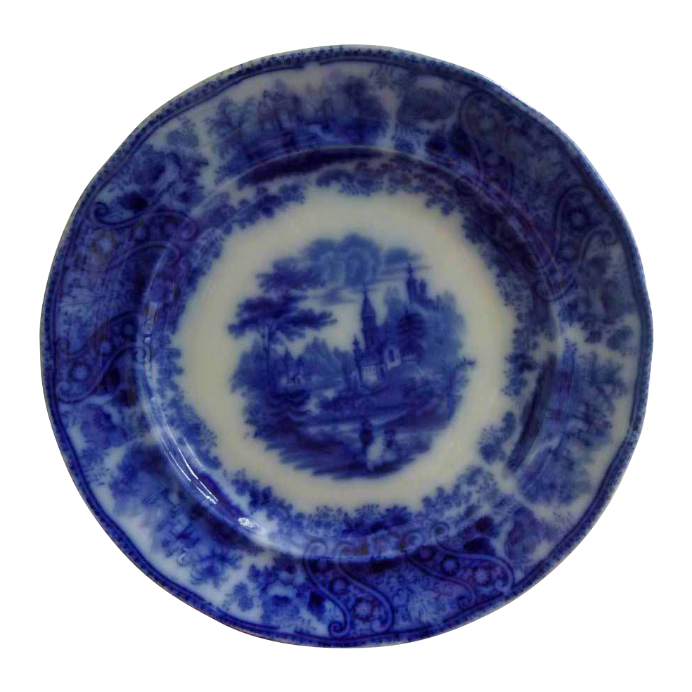Early English Flow Blue Plate Nonpareil
