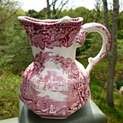 Mason's Vista Red Transfer Ware Pitcher