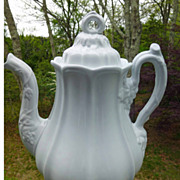Early English White Ironstone Tea Pot Paneled Grape Furnival