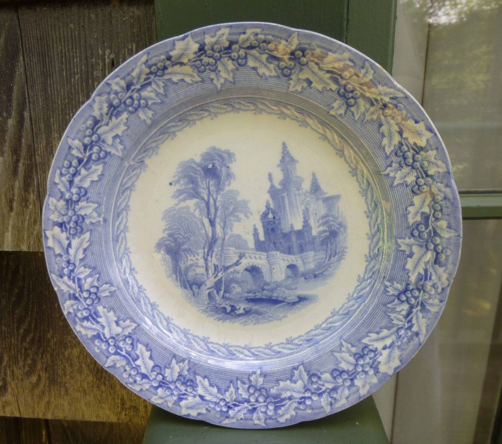 Early English Blue Transfer Ware Plate Holly