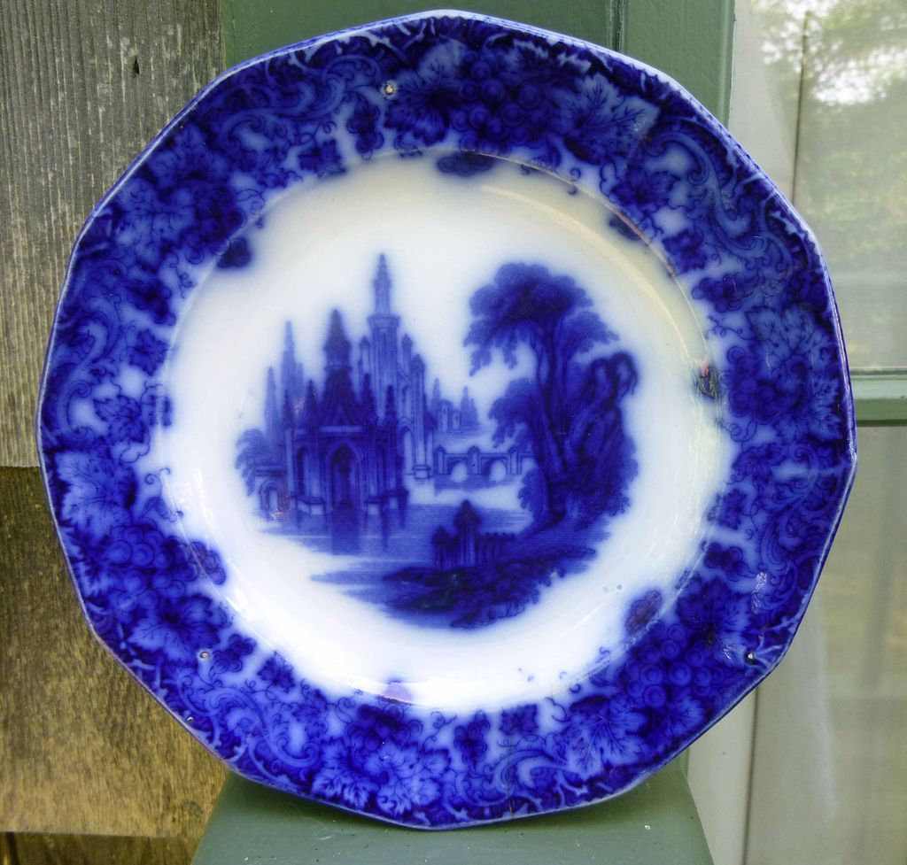 Early English Flow Blue Plate Furnival Gothic