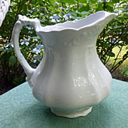 Antique English White Ironstone Pitcher Tracery Shape