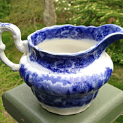 Antique Flow Blue Pitcher Creamer Ridgways Oriental