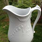 Early English White Ironstone Pitcher Hyacinth Shape