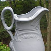 Early English White Ironstone Ewer / Pitcher Sharon Arch / Erie Shape