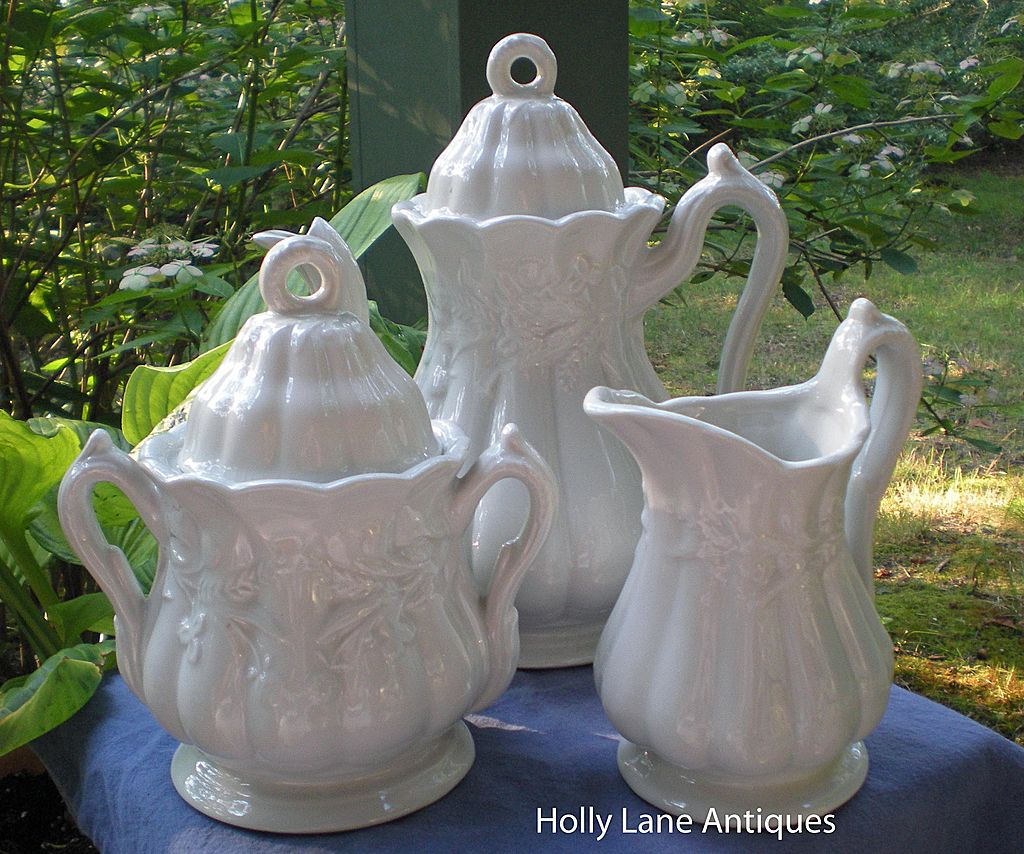 3 Piece White Ironstone Tea Set Wheat Pattern