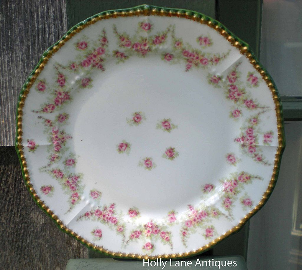 Antique Limoges Plate Garlands Of Roses Heavy Gold