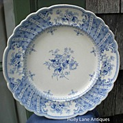 Antique Blue Transfer Ware Plate Dahlia Pattern