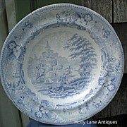 Antique Blue Transfer Ware Shallow Bowl Italian Scenery