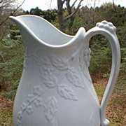 Early English White Ironstone Ewer / Pitcher Forget Me Not Shape