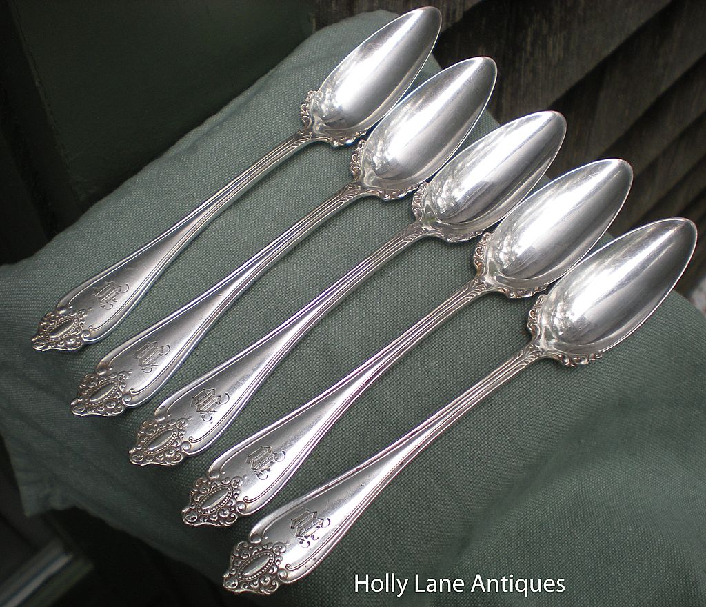 Set 5 Vintage Silver Plated Fruit Spoons Marquise Pattern
