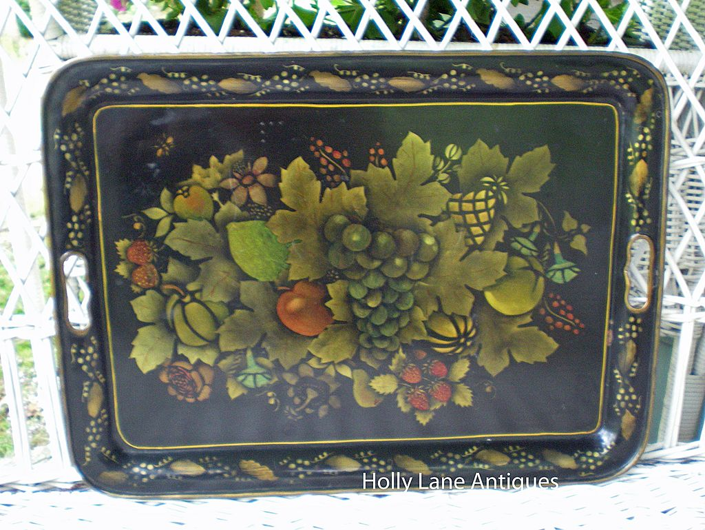 Vintage Hand Painted Tin Tray Fruit