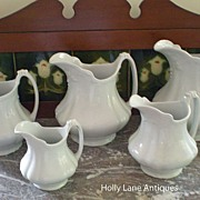 One Of Set of 5 English White Ironstone Graduated Pitchers Marquis - #1
