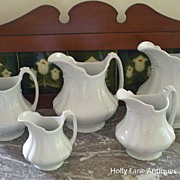 One Of Set of 5 English White Ironstone Graduated Pitchers Marquis - #3
