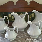 One Of Set of 5 English White Ironstone Graduated Pitchers Marquise - #4