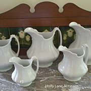 One Of Set of 5 English White Ironstone Graduated Pitchers Marquise - #5