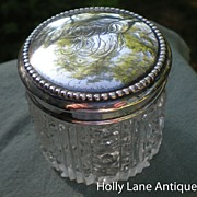 Antique Vanity Jar Sterling Silver Lid Frank Whiting