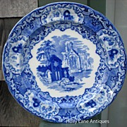 Antique Flow Blue Plate Abbey By George Jones