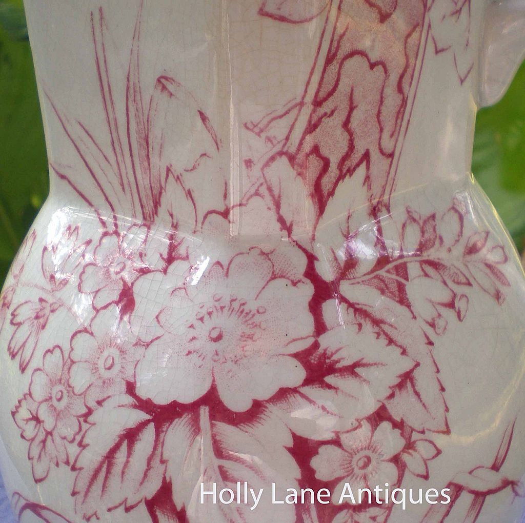 Antique Red Transfer Ware Pitcher Floral