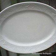 Early English White Ironstone Platter Morning Glory Shape