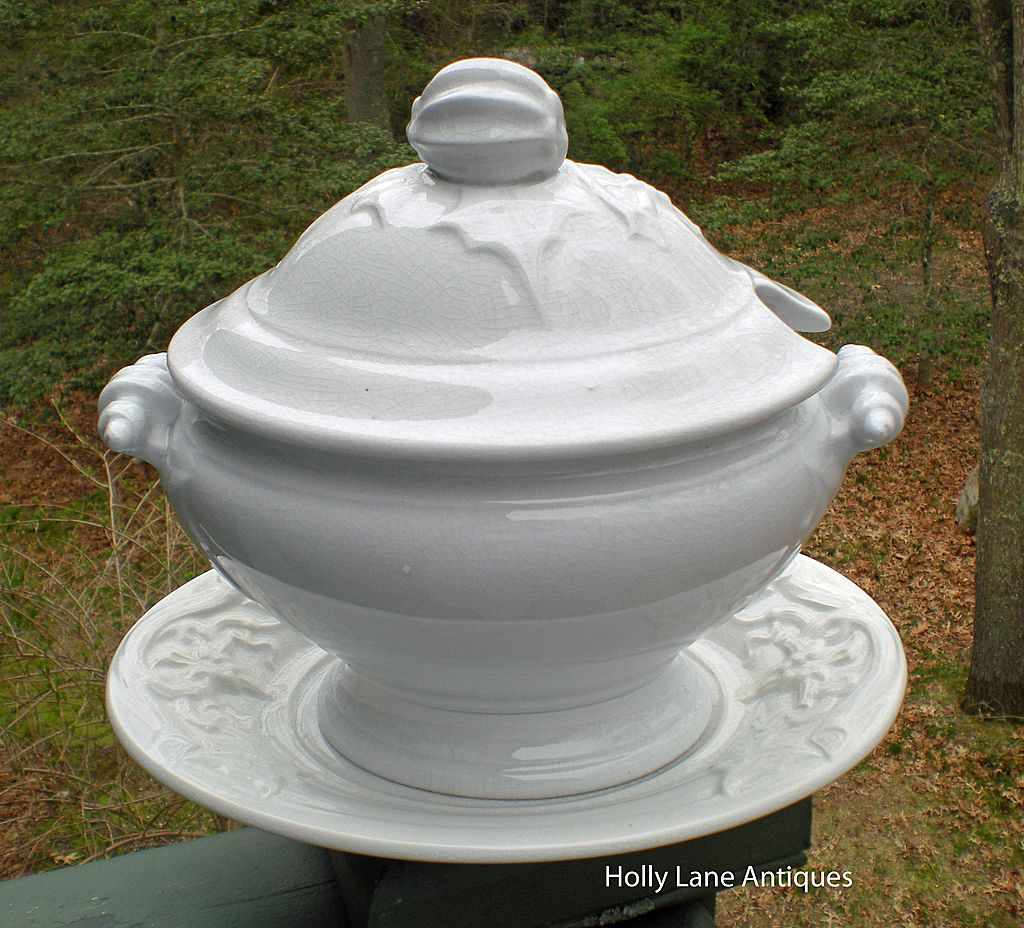 Early English White Ironstone Covered Sauce Tureen Squash On Vine Shape