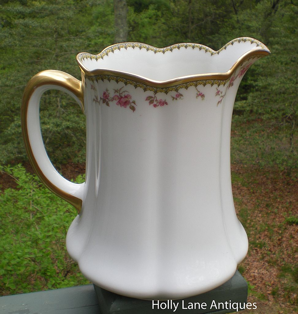 Antique Haviland Limoges Large Pitcher Roses Gold