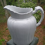 Antique English White Ironstone Pitcher Chelsea Shape