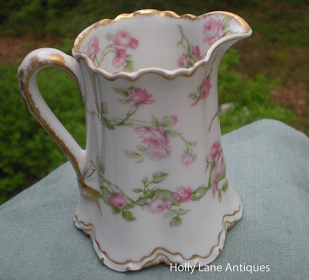 Antique Haviland Limoges Small Pitcher / Creamer Long Stemmed Roses