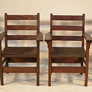 REDUCED 4 Signed Gustav Stickley Mission/Arts & Crafts Chairs