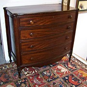 REDUCED American Sheraton Mahogany Bow-Front Chest of Drawers Ca. 1810