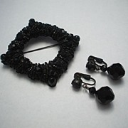 Black Glass Faceted Bead Wired Pin & Earrings